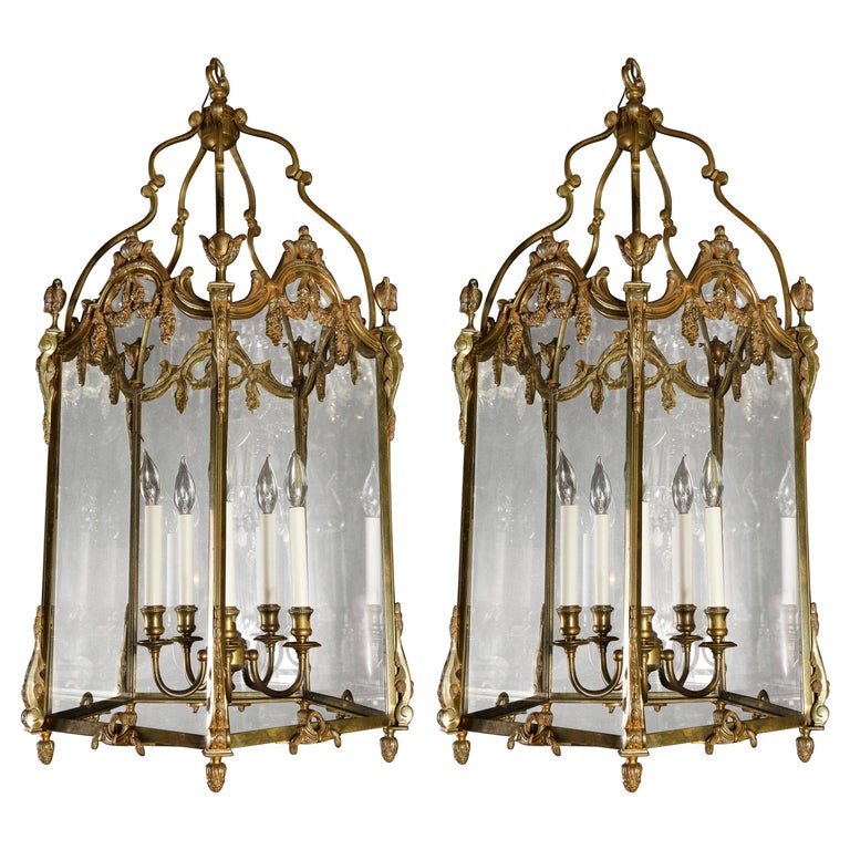 Pair of Palatial French Louis XVI Style Gilt Bronze and Glass Lanterns For Sale