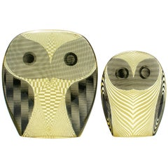 Pair of Palatnik Op Art Lucite Owls