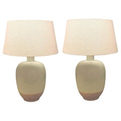 Pale Blue with Exposed Terra Cotta Base Pair of Lamps, China, Contemporary