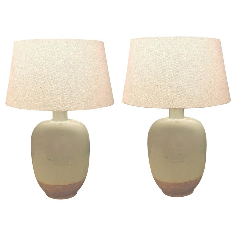 Pale Blue with Exposed Terra Cotta Base Pair of Lamps, China, Contemporary For Sale