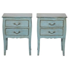 Pair of Pale Blue Two-Drawer Bedside Tables