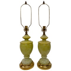 Pair of Pale Green French Art Glass Table Lamps