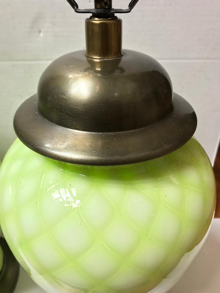 Italian Pair of Pale Green Murano Lamps For Sale