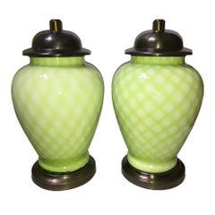 Pair of Pale Green Murano Lamps