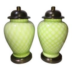 Ein Paar Hellgrüner Murano Lampen