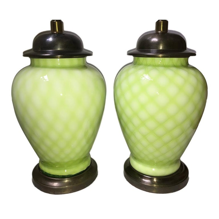 Pair of Pale Green Murano Lamps For Sale