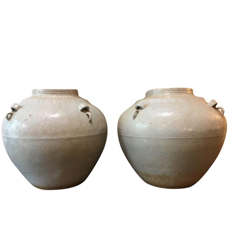 Pair of Pale Turquoise Textured Vases, China, Contemporary For Sale