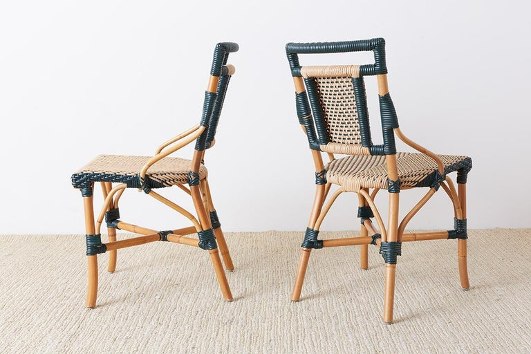 Pair of Palecek Bamboo Rattan Bistro Cafe Chairs For Sale 5