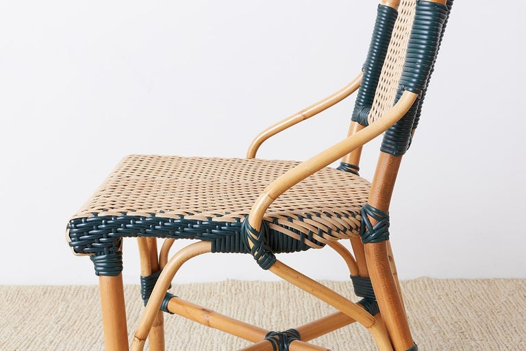 Pair of Palecek Bamboo Rattan Bistro Cafe Chairs For Sale 6