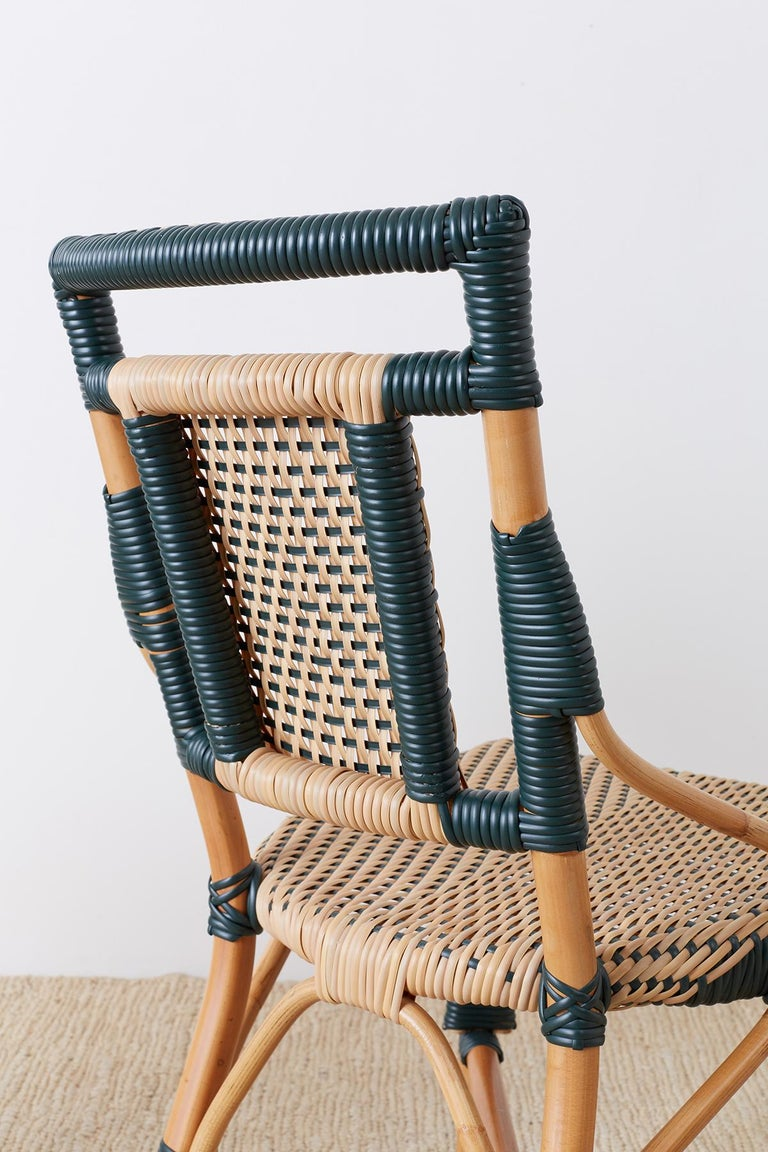Pair of Palecek Bamboo Rattan Bistro Cafe Chairs For Sale 7