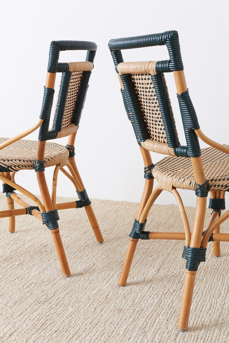 Pair of Palecek Bamboo Rattan Bistro Cafe Chairs For Sale 8