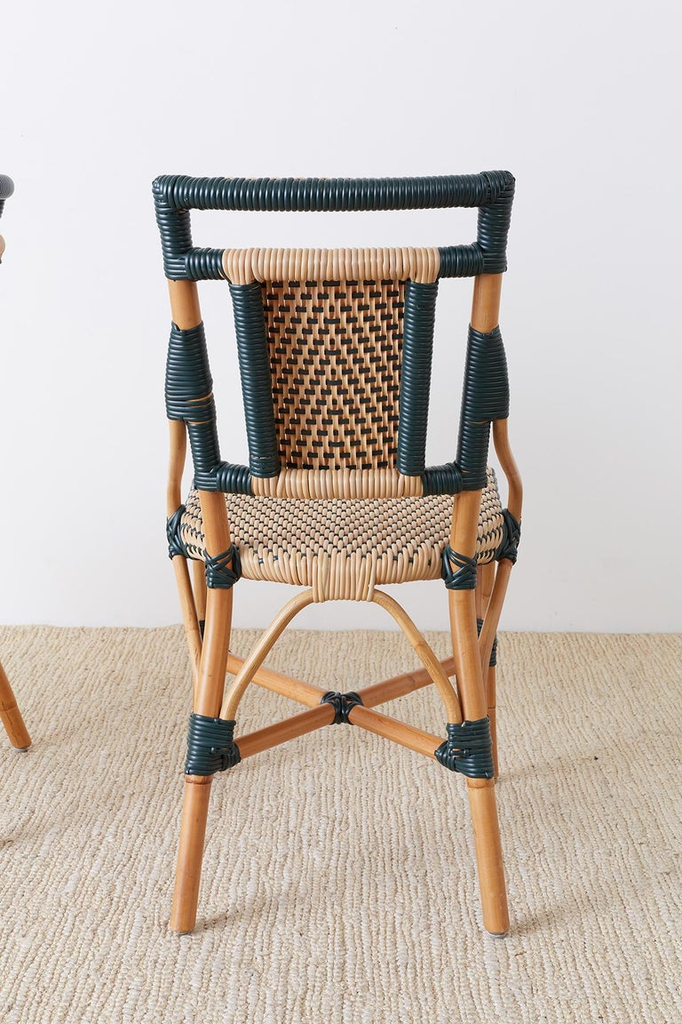Pair of Palecek Bamboo Rattan Bistro Cafe Chairs For Sale 9