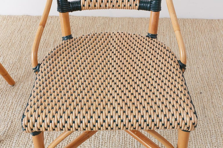 Pair of Palecek Bamboo Rattan Bistro Cafe Chairs For Sale 11