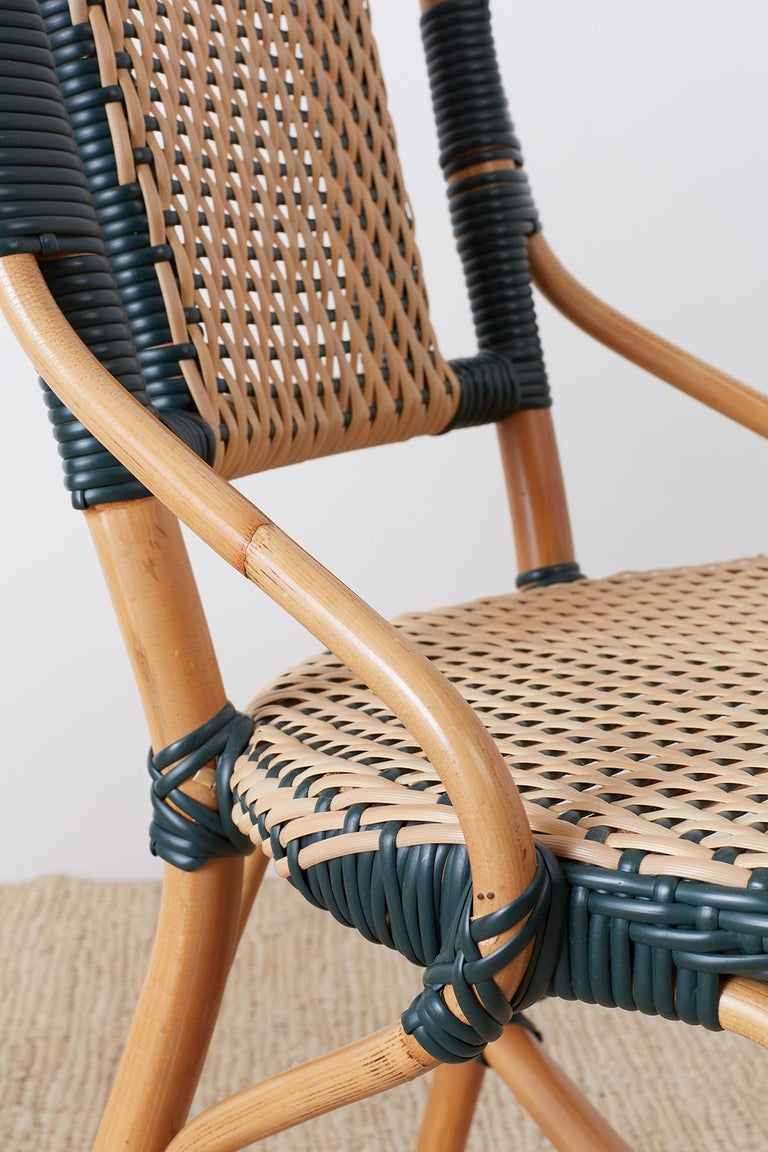 Pair of Palecek Bamboo Rattan Bistro Cafe Chairs For Sale 13