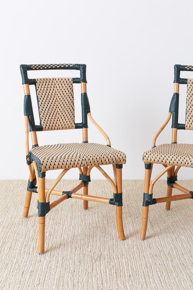 Art Deco Pair of Palecek Bamboo Rattan Bistro Cafe Chairs For Sale