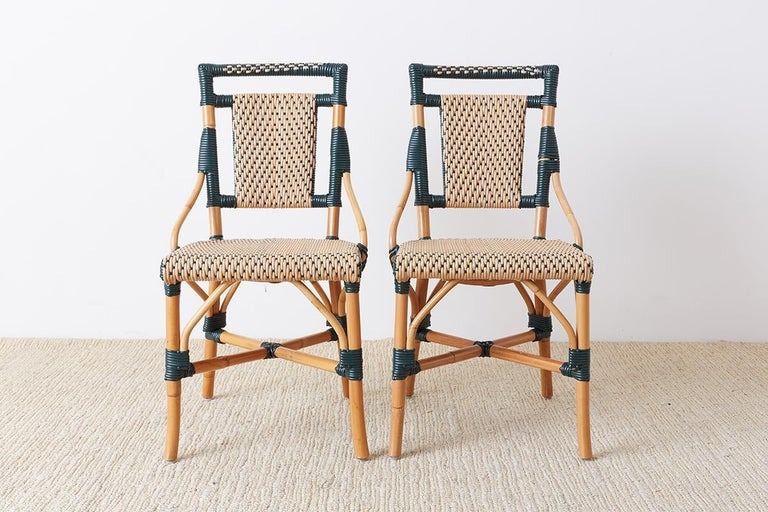 American Pair of Palecek Bamboo Rattan Bistro Cafe Chairs For Sale