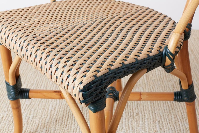 Hand-Crafted Pair of Palecek Bamboo Rattan Bistro Cafe Chairs For Sale