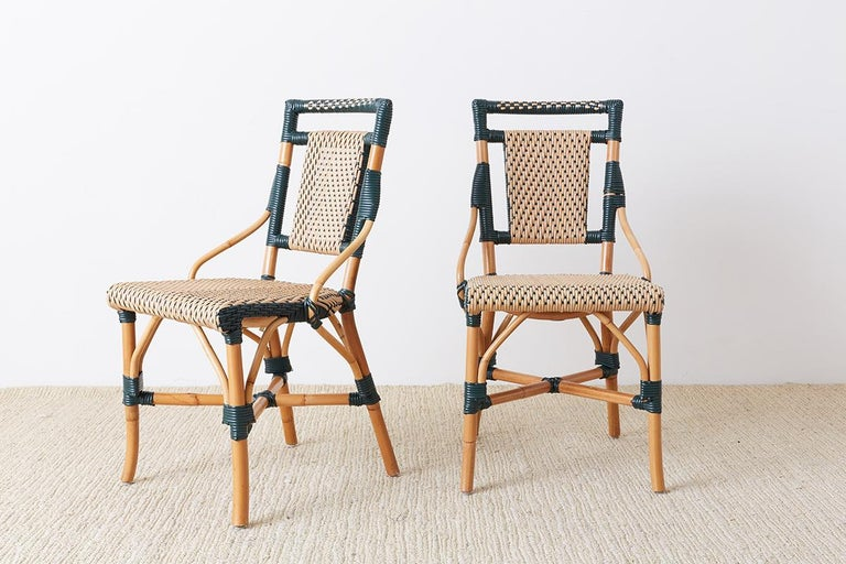 Pair of Palecek Bamboo Rattan Bistro Cafe Chairs In Good Condition For Sale In Oakland, CA
