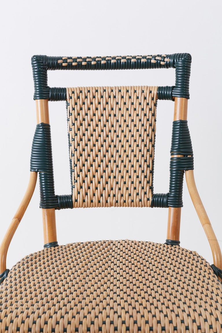 20th Century Pair of Palecek Bamboo Rattan Bistro Cafe Chairs For Sale