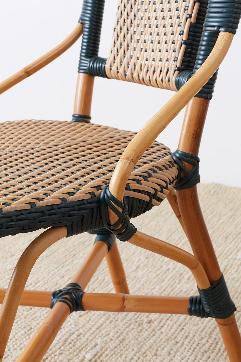 Pair of Palecek Bamboo Rattan Bistro Cafe Chairs For Sale 2
