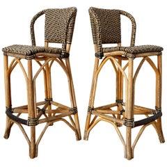 Pair of Palecek Bamboo Rattan Organic Modern Bar Stools