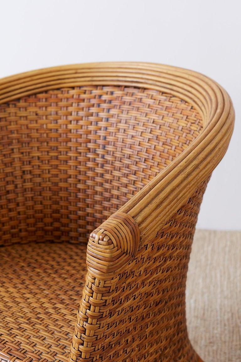 Pair of Palecek Bamboo Rattan Wicker Barrel Chairs at 1stdibs