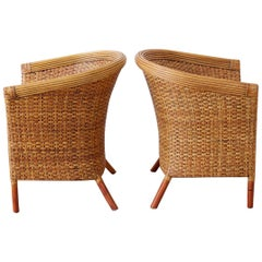 Pair of Palecek Bamboo Rattan Wicker Barrel Chairs
