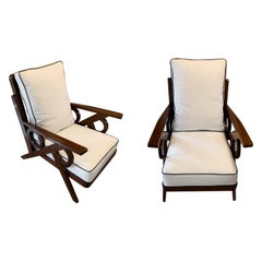 Pair of Palissander Frame Upholstered Side Chairs, France, Midcentury