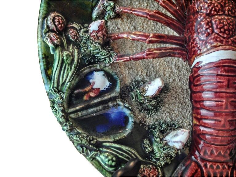 Pair of Palissy Style Lobster Tromp L'oeil Wall Plaques, Caldas Da Rainha 1920 For Sale 1