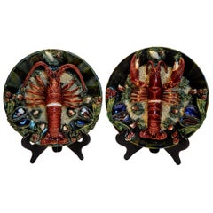Pair of Palissy Style Lobster Tromp L'oeil Wall Plaques, Caldas Da Rainha 1920