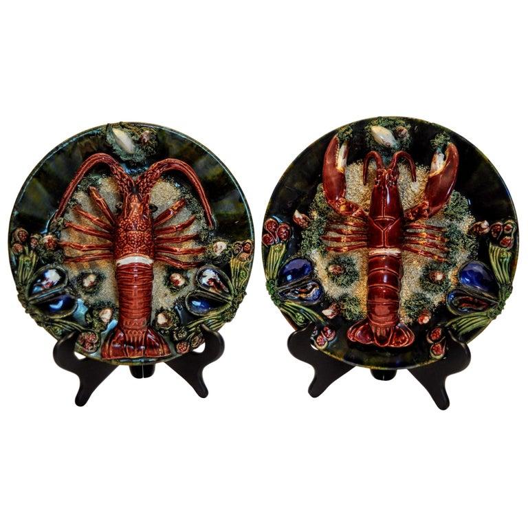 Pair of Palissy Style Lobster Tromp L'oeil Wall Plaques, Caldas Da Rainha 1920 For Sale