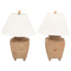 Pair of Palm Beach Regency Style Terracotta Pottery Table Lamps