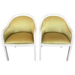 Pair of Palm Beachy White Laquer and Citron Silk Club Chairs