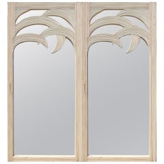 Pair of Palm Shaped Wooden Cane Mirrors