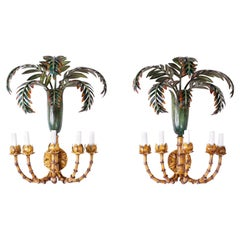 Pair of Palm Tree and Faux Bamboo Tole Wall Sconces