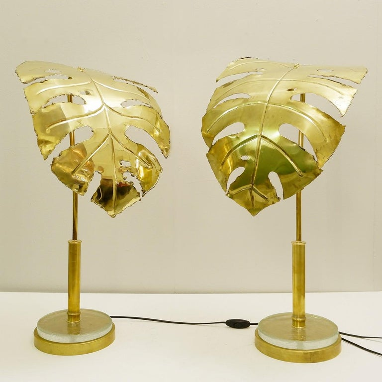 Pair of palm tree gold table lamps.