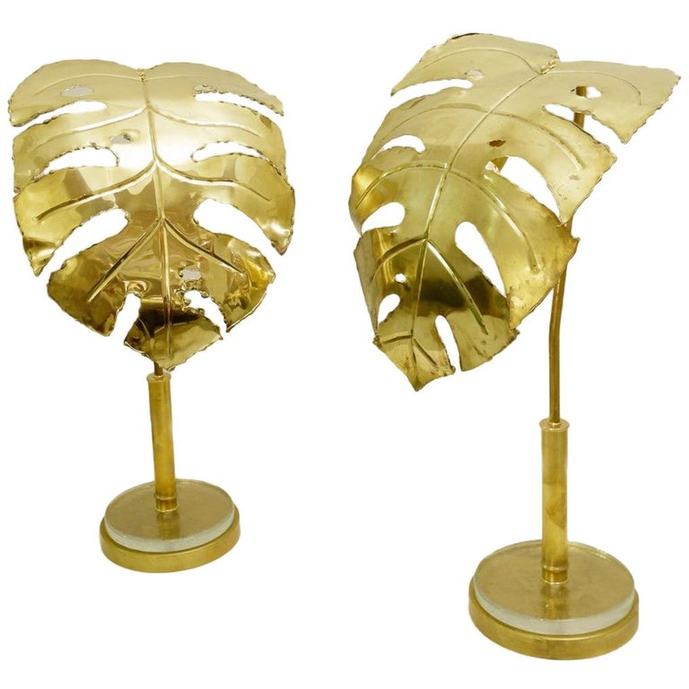 Pair of Palm Tree Gold Table Lamps For Sale