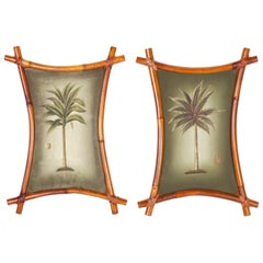 Pair of Palm Tree Paintings with Bamboo Frames