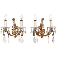 Pair of Palme & Walter KG Crystal Wall Sconces, 1960s Germany