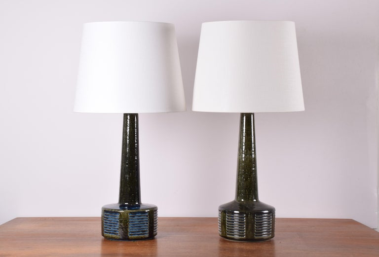 Pair of vintage Palshus Denmark tall ceramic lamps including new quality lampshades!