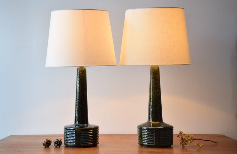 Mid-Century Modern Pair of Palshus Tall Table Lamps Green and Blue Danish Midcentury Ceramic, 1960s For Sale