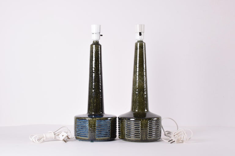 Mid-20th Century Pair of Palshus Tall Table Lamps Green and Blue Danish Midcentury Ceramic, 1960s For Sale