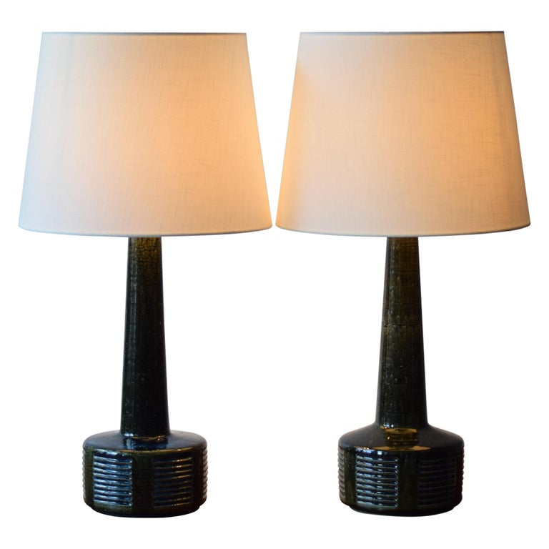 Pair of Palshus Tall Table Lamps Green and Blue Danish Midcentury Ceramic, 1960s For Sale