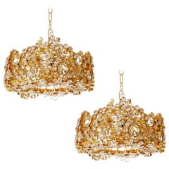 Pair of Palwa Chandeliers or Pendant Lights, Gilt Brass and Crystal Glass, 1960s