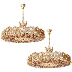 Two Palwa Chandeliers or Pendant Lights, Gilt Brass and Crystal Glass, 1970s