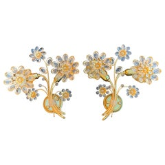 Pair of Palwa Floral Crystal Sconces