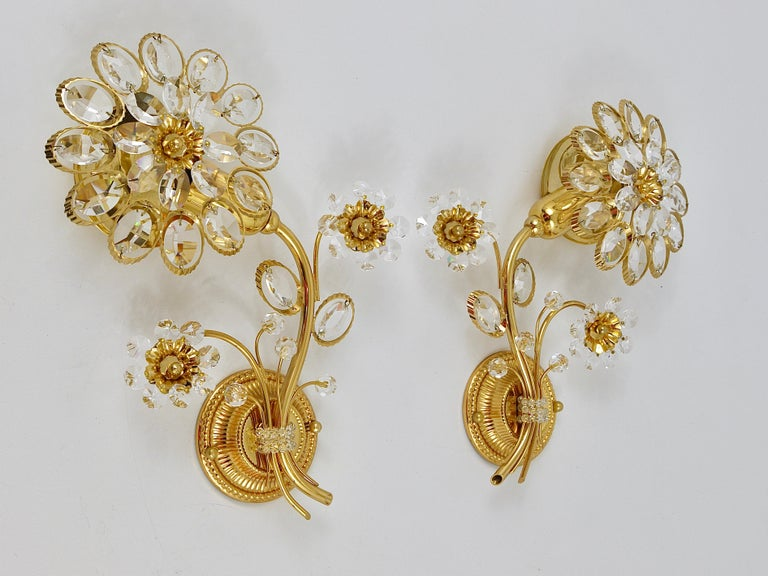 Pair of Palwa Gilt Brass Flower Wall Lights with Crystals, Germany, 1970s For Sale 4