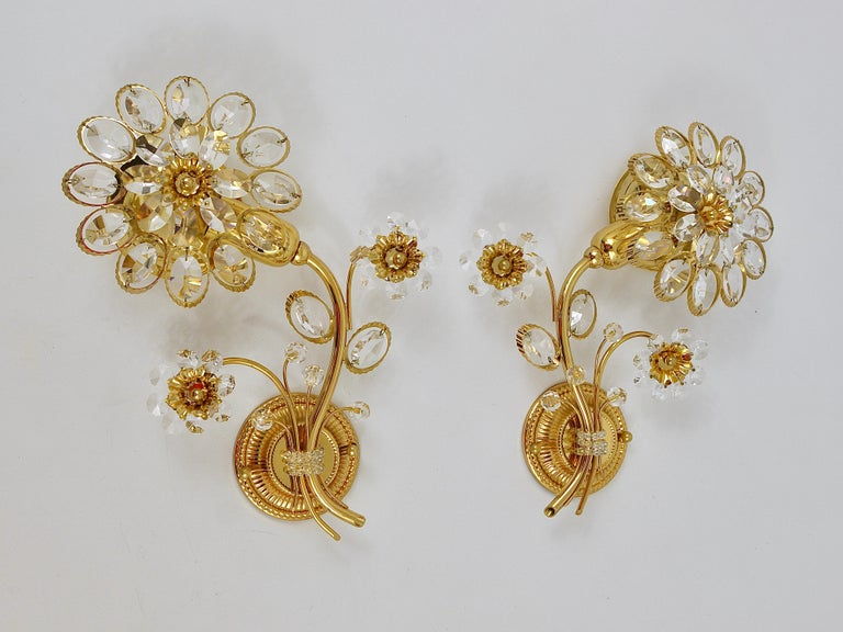 Pair of Palwa Gilt Brass Flower Wall Lights with Crystals, Germany, 1970s For Sale 6