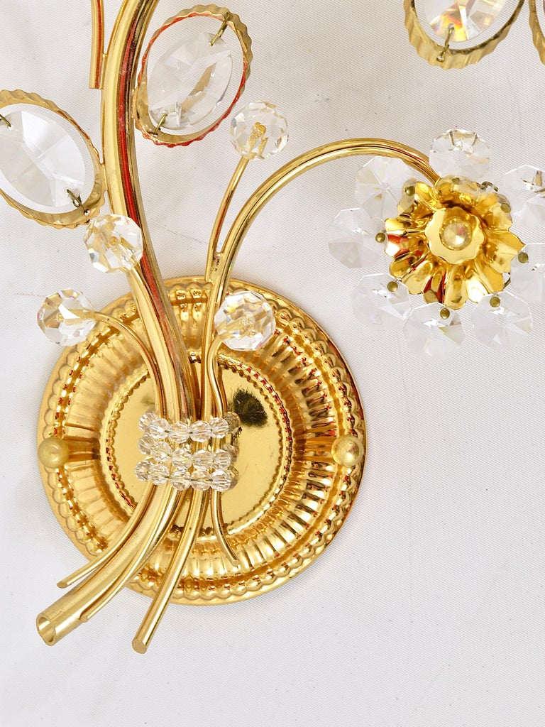 20th Century Pair of Palwa Gilt Brass Flower Wall Lights with Crystals, Germany, 1970s For Sale