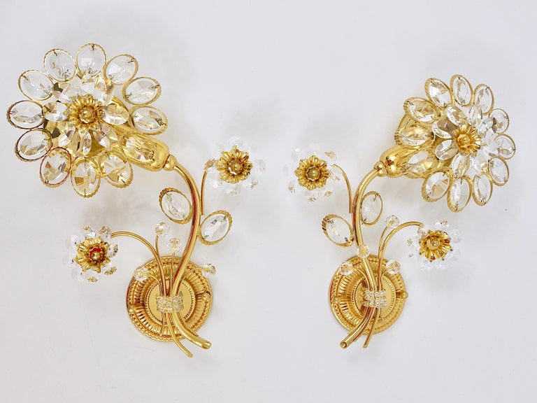 Pair of Palwa Gilt Brass Flower Wall Lights with Crystals, Germany, 1970s For Sale 1